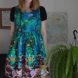 "Modcloth ""Optimistic Effect"" Aquarium/Coral Dress"
